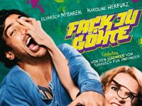 Plakat Fack Ju Göhte -Frau mit Brille faßt Mann im blauen Hemd mit der Hand ins Gesicht