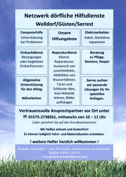 Flyer Hilfe-Netzwerk in Güsten, Weldorf, Serrest