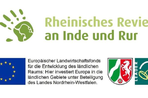 Bild: Logos der Europäischen Union, des Landes NRW und LEADER sowie der LAG Rheinisches Revier an Inde und Rur