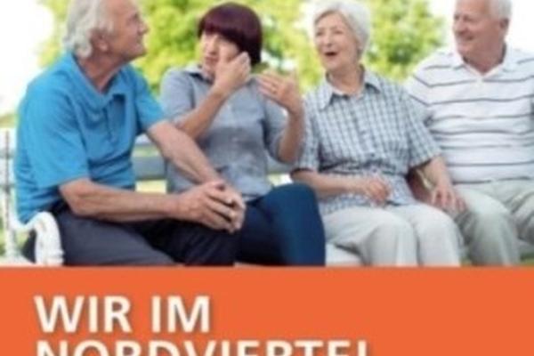 Bild: Logo: Wir im Nordviertel (Senioren unterhalten sich und der Text steht unter dem Bild)
