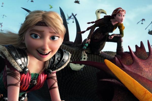 Bild: Hicks und Astrid reiten auf ihren Drachen (Animationsfilm)