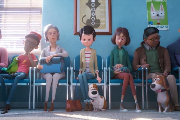 Bild: Szenenbild: Die Menschen sitzen mit ihren Tieren auf einer Bank.