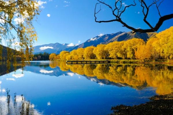 Bild: See mit herbstlich verfärbten Bäumen am Ufer