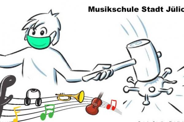 Bild: Comic, Person mit Mundschutz, Noten