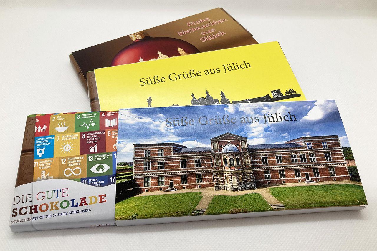 Süße Grüße - Ortsschild/Zitadelle/Advent - gelbe Verpackung verziert mit der Jülicher Zitadelle, der