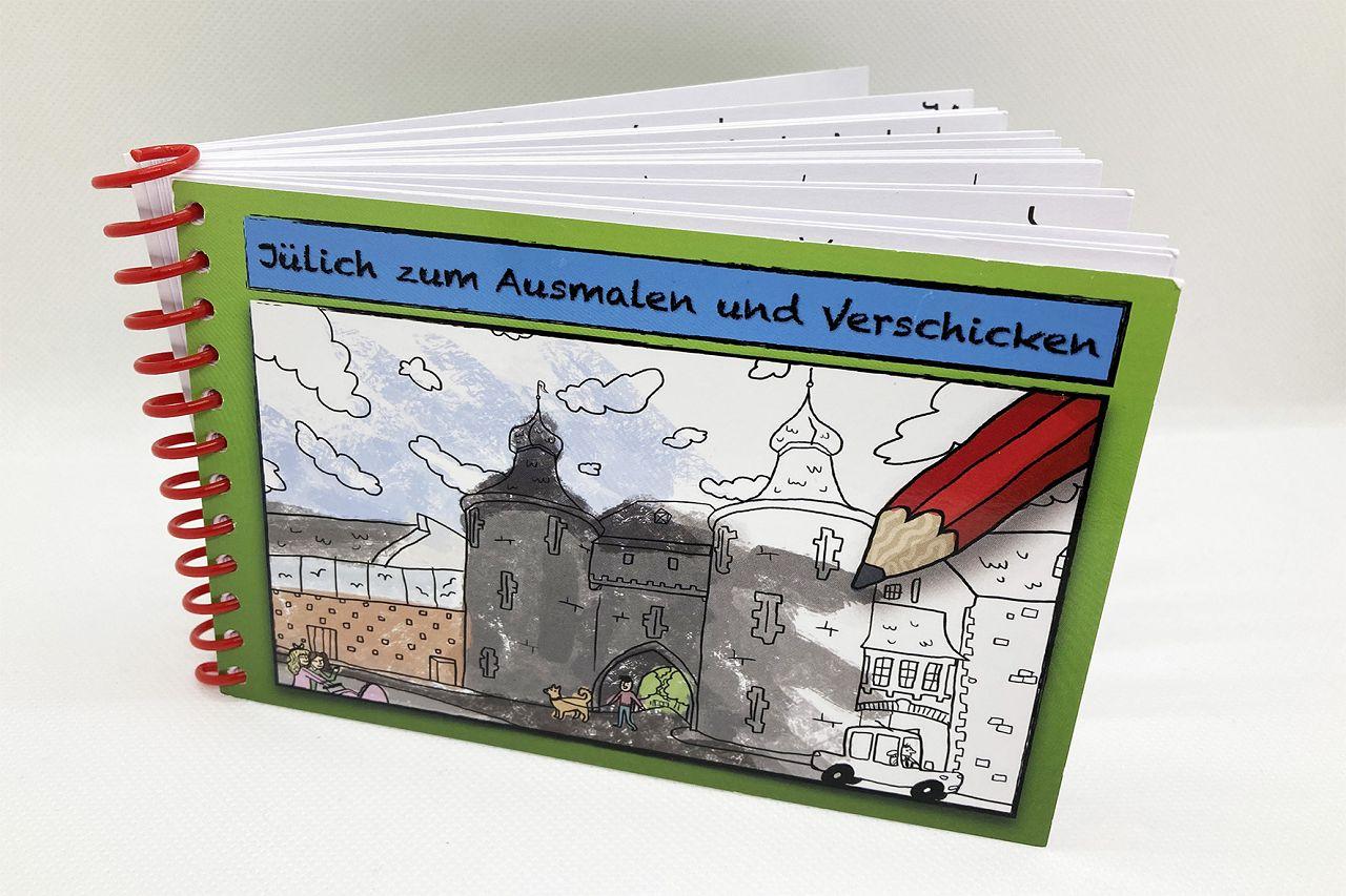 Malbuch Postkarten (A6) mit 25 Jülicher Stadtansichten zum ausmalen