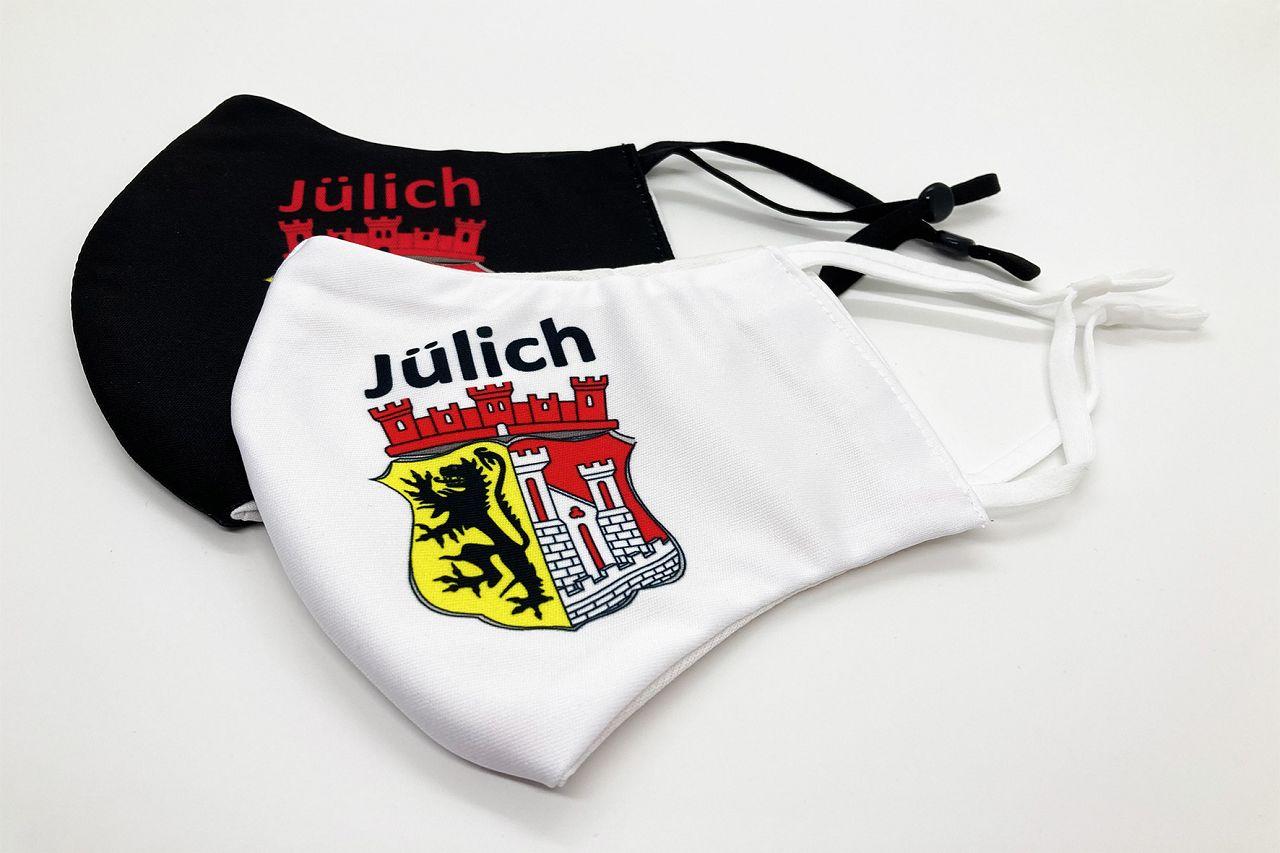 Alltagsmaske Motiv Wappen - Mund-, Nasenbedeckung in weiß bzw. schwarz mit jeweils farbigem Stadtwappen-Aufdruck