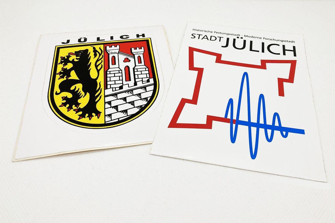 Aufkleber Logo/Wappen mit dem Jülicher Logo oder dem Jülicher Wappen