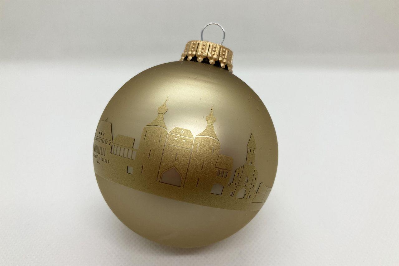 Christbaumkugel champagner verziert mit der goldenen
