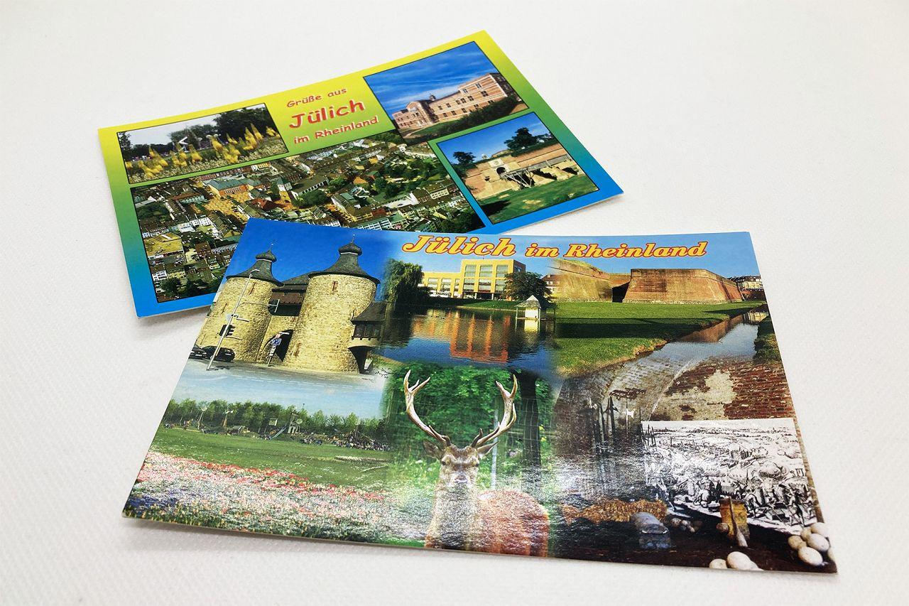 Fotopostkarten bunt - Aufdruck verschiedener Sehenswürdigkeiten der Stadt Jülich