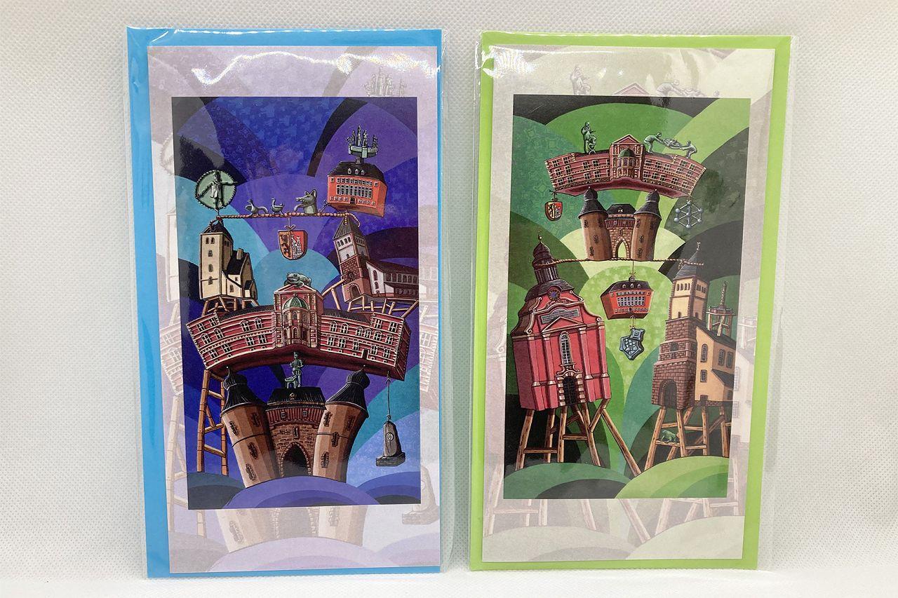 Kunstpostkarte Marc Remus blau/grün mit aufgedruckten Jülicher Sehenswürdigkeiten