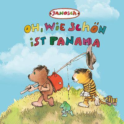 Oh, wie schön ist Panama. Der kleine Bär (mit Rucksack, Wanderstock und Hut ausgestatet)  und der kleine Tiger (mit der Tigerente) auf dem Weg nach Panama. Hier zusammen mit einer Kröte.